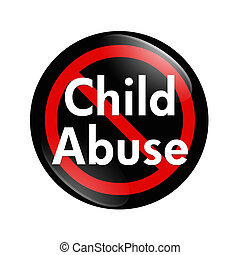 No Child Abuse button - A black, white and red button with...