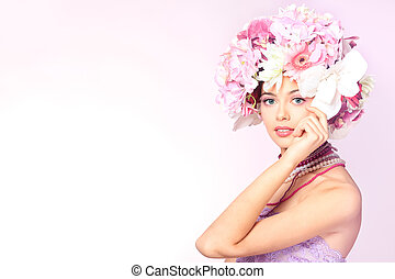 vernal - Portrait of a beautiful spring girl wearing flowers...