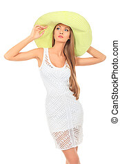 model summer - Beautiful young woman in light summer dress...