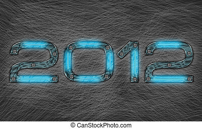 New year 2012 - new year 2012 text with grungy metal effect