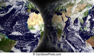 Blue Marble Globe and Map Loop - Blue Marble Earth globe...