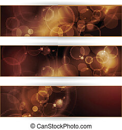 Set of sepia tone bokeh banners - Vector header, banner set....