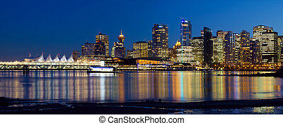 Vancouver BC City Skyline Reflection - Vancouver BC Canada...