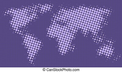Halftone dots map of the world in purple shades