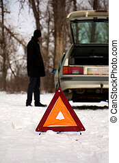 Fault car in the winter - The young guys fault car in the...