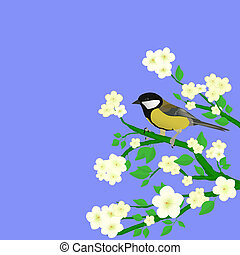 little bird perched on flowering branch