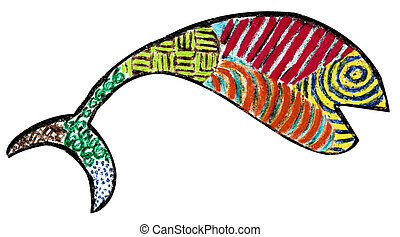 Calico Fish - Profile view of a calico style fish made with...