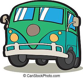 minivan, caricatura, coche