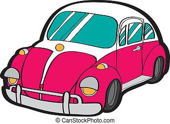 Cartoon car vector - detailed retro car, vector