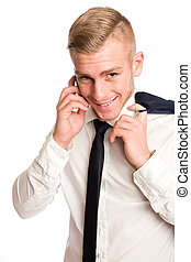 Young businessman with mischievous smile - Young businessman...