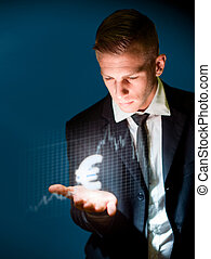 The euro trader. - Currency trading concept with glowing...