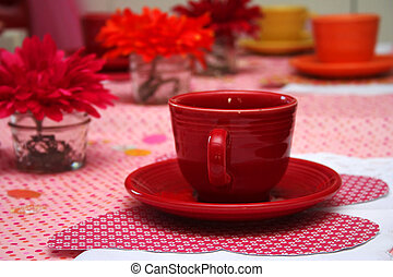 Little Girls Tea Party - Close up of Red Tea Cup at a Little...