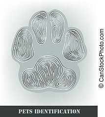 Pets identification, stylized dog paw print