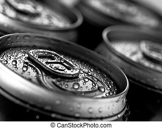 Beer cans - Top part of beer cans, close up view