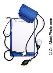 Blank clipboard with stethoscope and tonometer