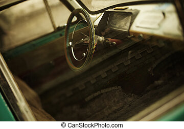 vintage car tilt-shift lens - View of the interior of an old...
