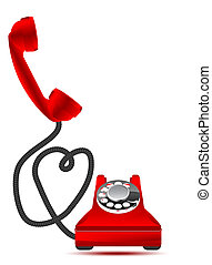 Love conversation - Red retro phone with hearts, vector...