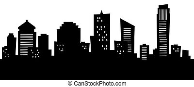 Cartoon Brisbane - Cartoon skyline silhouette of the city of...