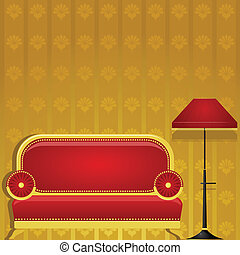 Vector illustration of a sofa and a floor lamp