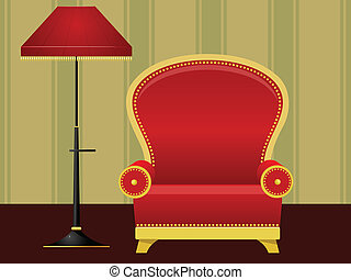 Vector illustration of a red chair and floor lamp