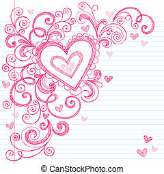 Valentines Day Love Hearts Doodle - Valentines Day Hearts...