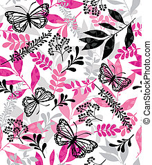 Butterfly and Leaf Repeat Pattern - Elegant Butterflies and...