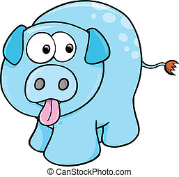 Silly Farm Pig Vector Illustration Art