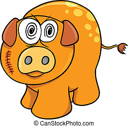 Crazy Farm Pig Vector Illustration Art