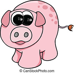 Cute Farm Pig Vector Illustration Art