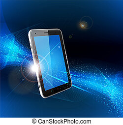 vector futuristic blue background with a mobile phone