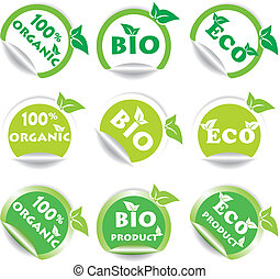 Set of green bio and eco stickers Vector illustration