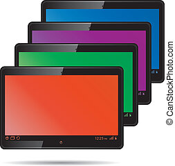 Set of digital tablets with color screen.