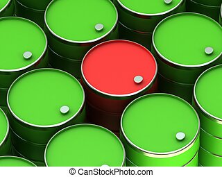 A barrels - Red barrel in the background of green barrels