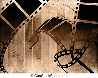 Blank film strip on abstract background