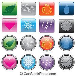 Elemental Buttons - A collection of colorful buttons with...