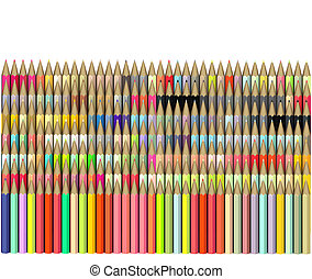 dimetric 3d render of pencil in different color