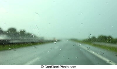 Car driving and Rain drops on the glass