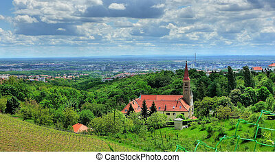 Church on green hill above croatian capital Zagreb, Remete