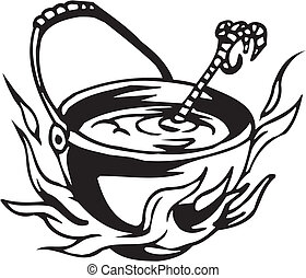 Pot with a potion - vector illustration - Vinyl-ready vector...