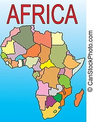 Africa. Southern hemisphere. Black continent. A card of...