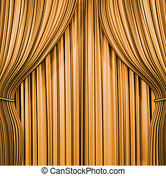 Gold curtain 3d render image