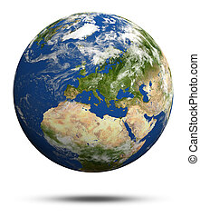 Planet Earth 3d render Earth globe model, maps courtesy of...
