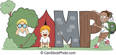 Childrens Camp - Illustration of Children Out Camping