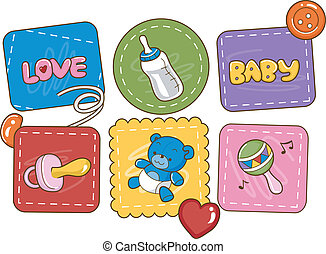 Baby Patches - Illustration Featuring Baby Related Items