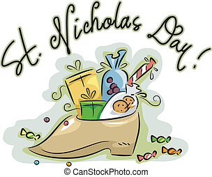 Presents - Illustration of a Shoe Loaded with Presents