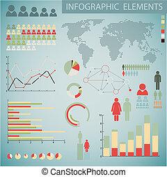 Big Retro Vector set of retro Infographic elements - Big...