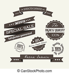 Vector Old dark retro vintage elements (quality, sale,...