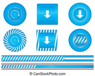 Set of special blue download buttons
