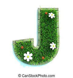 Beautiful Spring Letters made of Grass and Flowers Surrounded with  Border