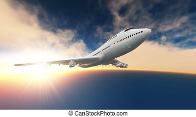 airplane is flying